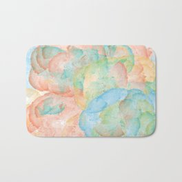 Watercolor Abstract Art of Colorful Flowers Including vibrant red,blue,and yellow Bath Mat
