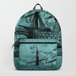 Vintage ship | Vintage pirate | Steam punk design | Pirates Backpack