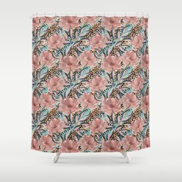Peonies on the skin of a leopard. Shower Curtain