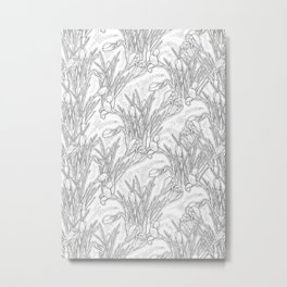 Blooming Crocuses, Garden Flowers, Black & White, Floral Pattern Metal Print