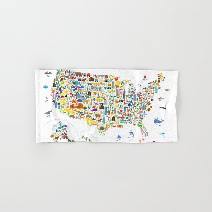 Animal Map of United States for children and kids Hand & Bath Towel by  artpause