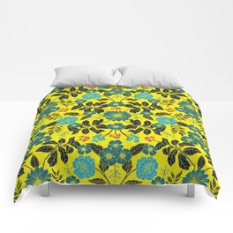 Bright Yellow, Red, Turquoise & Navy Blue Floral Pattern Comforters