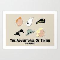 tintin Art Prints featuring Tintin, Minimalist by Faellen
