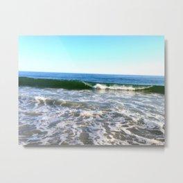 Glass Green Waves Metal Print