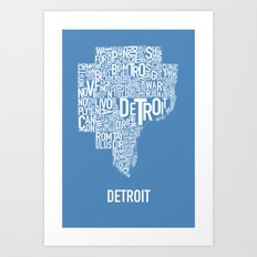 Detroit typography map poster - Blue Art Print
