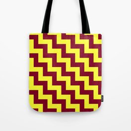 Electric Yellow and Burgundy Red Steps LTR Tote Bag