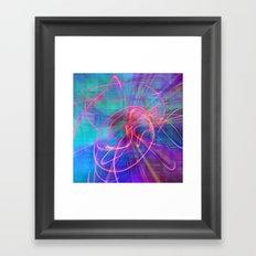 Electric Neon Swirls of Light Abstract Framed Art Print