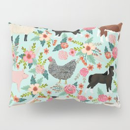 Farm animal sanctuary pig chicken cows horses sheep floral pattern gifts Pillow Sham