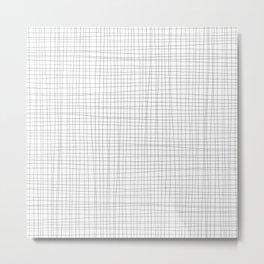 White and Black Grid - Disorderly Order Metal Print