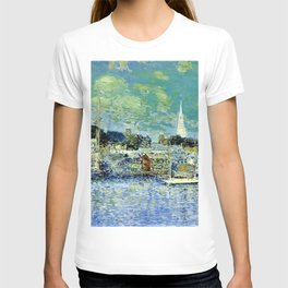 Classical Masterpiece 'Newport, Rhode Island Waterfront' by Frederick Childe Hassam T-shirt