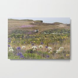 Surfer Walking to the Beach Through Field of Flowers Metal Print