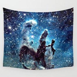 Pillars of Creation Nebula: Ocean Blue Galaxy Wall Tapestry