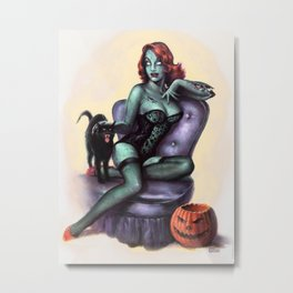 Halloween Zombie Girl Pin Up Metal Print