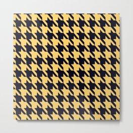 Yellow Black Houndstooth Metal Print