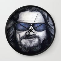lebowski Wall Clocks featuring The Dude Lebowski by Black Neon