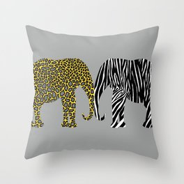 Elephants in Animal Prints Throw Pillow