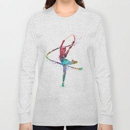 Rhythmic Gymnastics Print Sports Print Watercolor Print Long Sleeve T-shirt