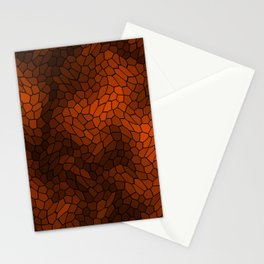 Stained glass texture of snake brown leather with dark heat spots. Stationery Cards