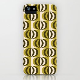 Mid century black & white striped ovals pattern olive green iPhone Case