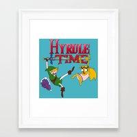 hyrule Framed Art Prints featuring Hyrule Time by Marcos Raya Delgado