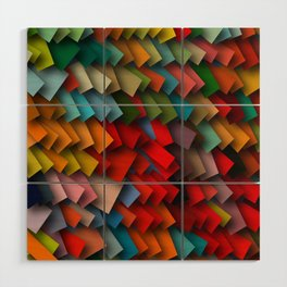 colorful rectangles with shadows Wood Wall Art