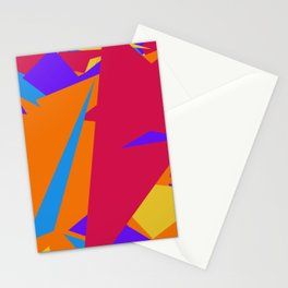Crzy Modern Triangles - Old Rose, Tahiti Gold, Cornflower Blue Stationery Cards