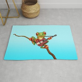 Tree Frog Playing Acoustic Guitar with Flag of Latvia Rug