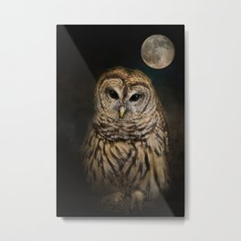 Barred Owl and the Moon Metal Print