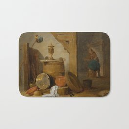 DAVID TENIERS THE YOUNGER (Antwerp 1610 – 1690 Brussels) A tavern interior with a dog and kitchen ut Bath Mat
