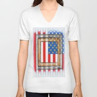 american flag V-neck T-shirts featuring American Flag by Steve Hester