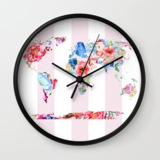 Floral World - Pink Stripe Wall Clock