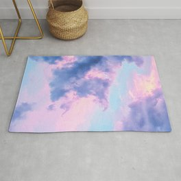 Pastel Purple Lilac Fluffy Fantasy Fairytale Sunset Clouds In The Sky Rug