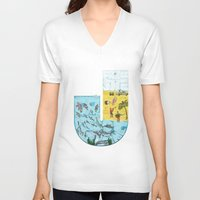 jamaica V-neck T-shirts featuring J for Jamaica by Maksim Scmbrja