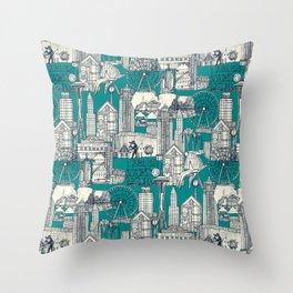 Seattle indigo teal Throw Pillow