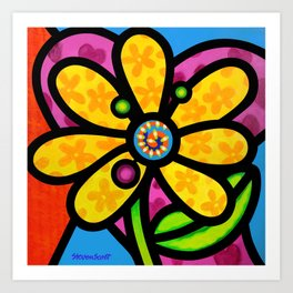 Pinwheel Daisy in Yellow Art Print