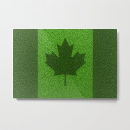 Grass flag Canada / 3D render of Canadian flag grown from grass Metal Print