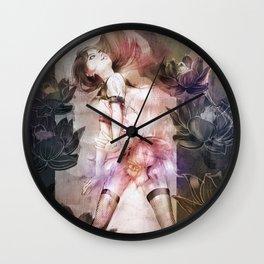NP dot TOKYO | Lotus flowers and girl Wall Clock