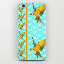 GOLD & BLUE TROPICAL MACAWS VERTICAL ART iPhone Skin