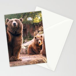 Spectecular Group Gracious Grizzly Bears Sitting In Habitat Waving At Camera Ultra HD Stationery Cards