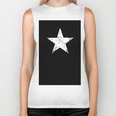 black white grunge star shape old vintage army symbol Biker Tank