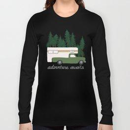 Adventure Awaits Truck Camper RV Camping Green Forest Long Sleeve T-shirt