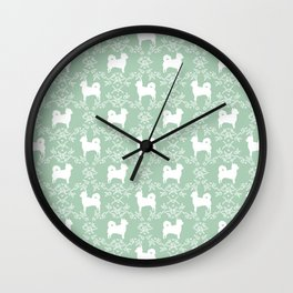 Chihuahua long haired mint and white floral silhouette pattern dog breed art Wall Clock