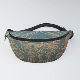 Art Nouveau,teal and gold Fanny Pack