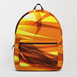 Saturated gold and smooth sparkling lines of metal ribbons on the theme of space and abstraction. Backpack