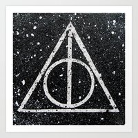 deathly hallows Art Prints featuring Deathly Hallows by Herk Designs