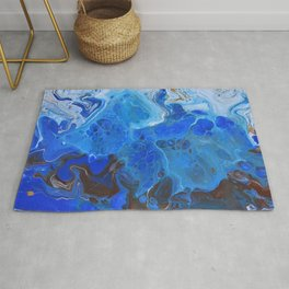 Storm Surge Blue and Brown Fluid Acrylic Abstract Painting Rug