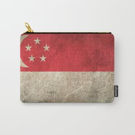 Old and Worn Distressed Vintage Flag of Singapore Carry-All Pouch