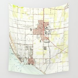 Vintage Map of Oxnard California (1949) 2 Wall Tapestry
