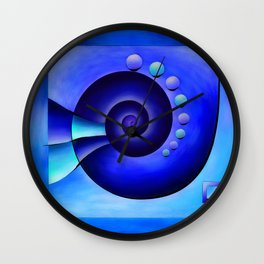 Escanissimera - endlessly limited blue spiral snail Wall Clock