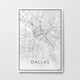 Dallas City Map United States White and Black Metal Print